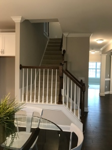 Picture is from the model home. I love the staircase